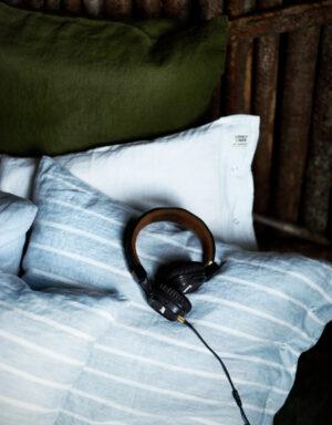 Bettwäsche Kopfkissen, blau-weiß gestreift
