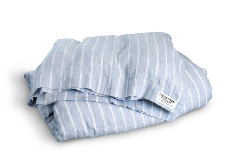 155 x 220 cm hochwertige Bettwaesche Stripes Sky von Lovely Linen