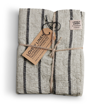 Stoffserviette Stripes Sky von Lovely Linen in sand-graphit gestreift