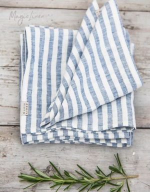 Feine Leinen Servietten mit blauen Streifen